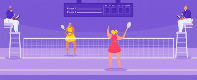 Giocatori di campionato di tennis con la racchetta e i giudici di tennis, illustrazione di torneo di sport.