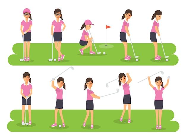 Giocatori di golf, sportivi di golf in azione.