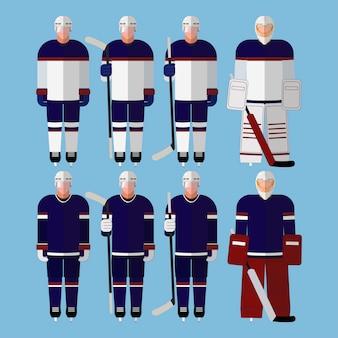 Giocatori di hockey appiattiti