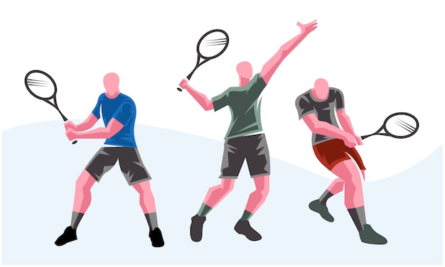 Giocatori di tennis in diverse pose. illustrazione scalabile e modificabile