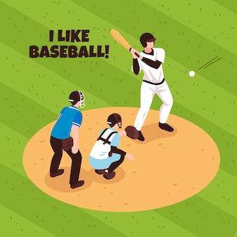 Giocatori ed arbitro durante la partita di baseball sull'illustrazione isometrica del campo di gioco