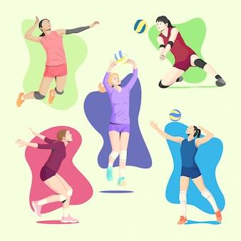 Giocatori femminili della palla di volley in collezioni di illustrazione di movimenti diversi
