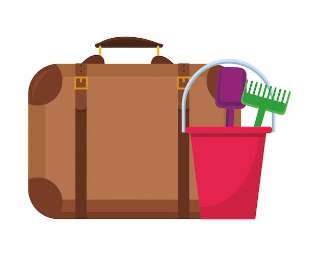 Giocattoli da spiaggia e valigia