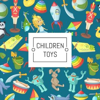 Giocattoli dei bambini del fumetto con il posto per l'illustrazione del testo