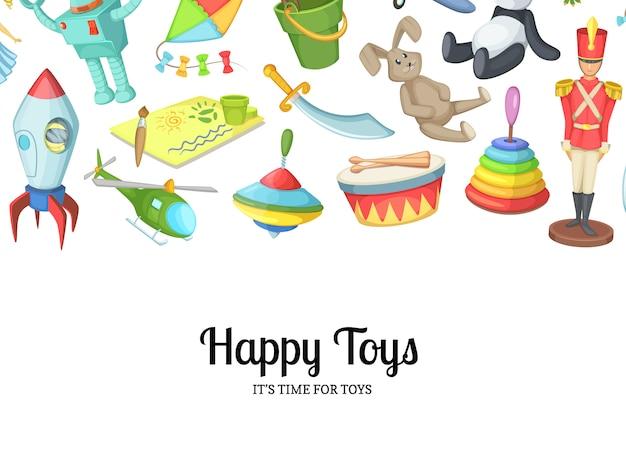 Giocattoli dei bambini del fumetto con l'illustrazione del copyspace