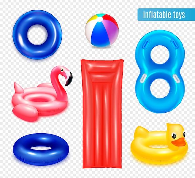 Giocattoli di gomma gonfiabili che nuotano nella composizione degli anelli con l'insieme degli anelli interni isolati e degli oggetti a forma di animale