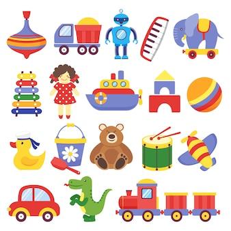 Giocattoli per bambini. giocattolo gioco peg-top orsacchiotto tamburo giallo anatroccolo dinosauro razzo robot cubi per bambini. vettore del giocattolo del bambino del bambino