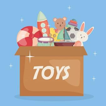 Giocattoli per bambini in scatola di cartone