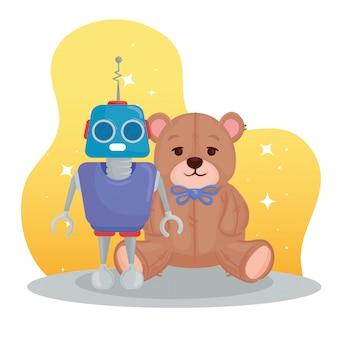 Giocattoli per bambini, orsacchiotto e robot