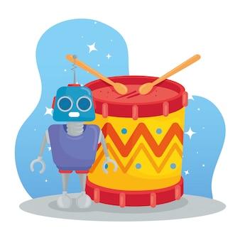 Giocattoli per bambini, robot e tamburo con bacchette