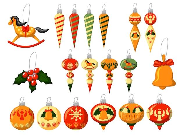 Giocattolo di natale. palla giocattolo di natale colorato, ghiacciolo, cavallo, ramo di agrifoglio con bacche, campana impostata su sfondo bianco. decorazione di vacanza invernale per l'illustrazione dell'albero di abete di natale