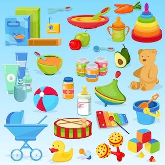 Giocattolo per bambini elegante, bello, carino, cosa in via di sviluppo, alimenti per bambini. porridge, purea di frutta, frutta, giocattoli, xilofono, piramide colorata, tamburo giocattolo.