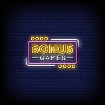 Giochi bonus insegne al neon in stile testo
