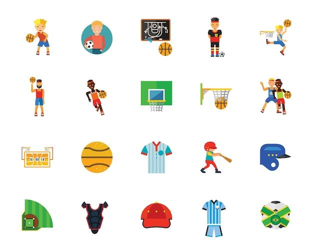 Giochi con la palla e set di icone di concorrenza