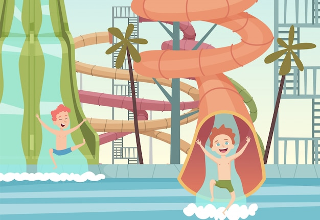 Giochi del parco acquatico. attrazioni divertenti per i bambini che nuotano saltando e giocando in piscina all'aperto piscine sfondo del fumetto