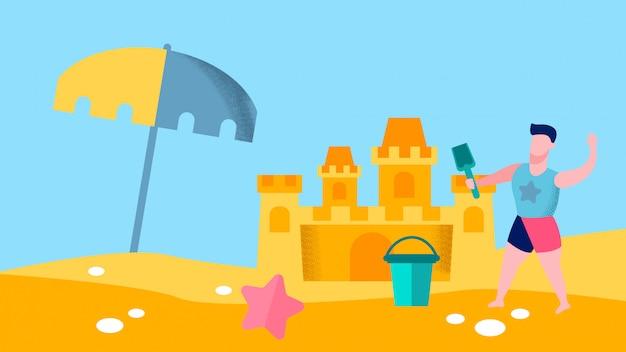Giochi della spiaggia per l'illustrazione piana di vettore del ragazzo
