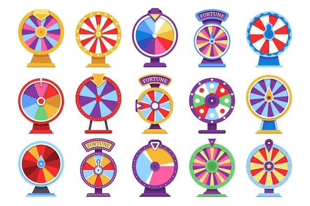 Giochi di soldi piani del casinò delle icone delle ruote di filatura di fortuna delle roulette - elementi in fallimento o fortunati di vettore