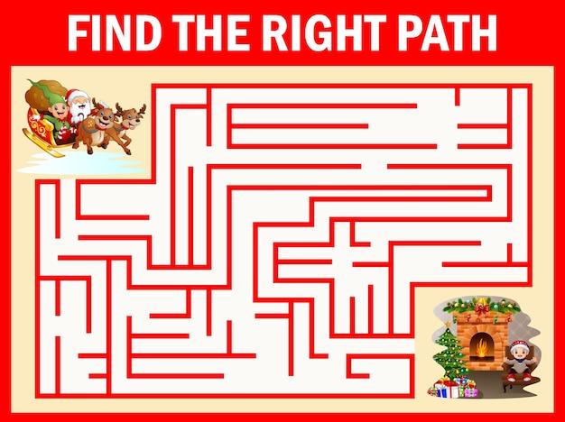 Giochi labirinto di babbo natale trovano la loro strada per il camino