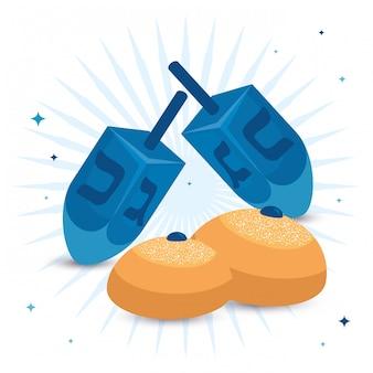 Giochi tradizionali di dreidel con pane tondo