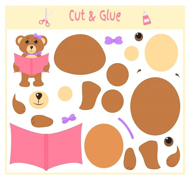 Gioco cartaceo educativo per lo sviluppo di bambini in età prescolare. taglia parti dell'immagine e incollale sulla carta.