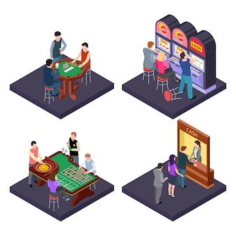 Gioco d'azzardo, composizione isometrica nei casinò con slot machine, poker, cambio valuta