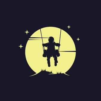 Gioco da bambini altalena sul logo della luna
