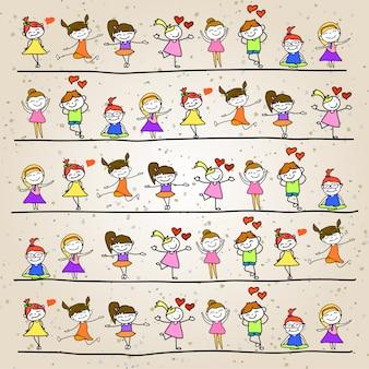 Gioco dei bambini del fumetto dell'illustrazione della mano