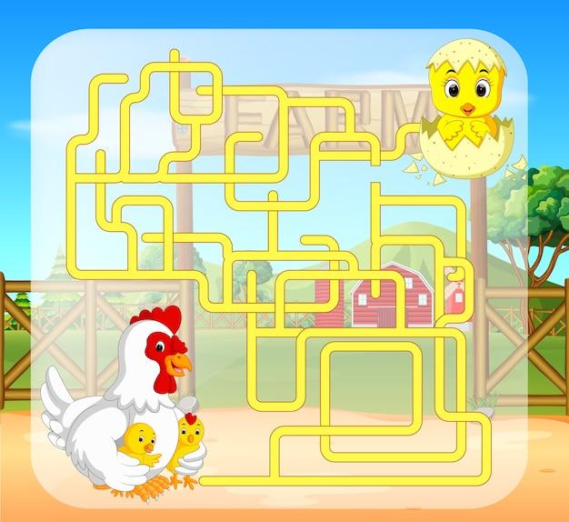 Gioco del labirinto con pollo