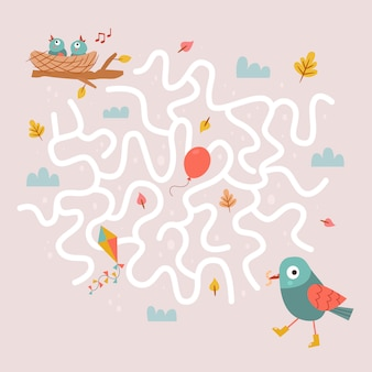 Gioco del labirinto degli uccelli