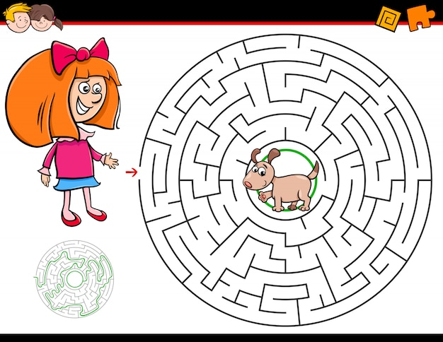 Gioco del labirinto del fumetto con ragazza e cucciolo