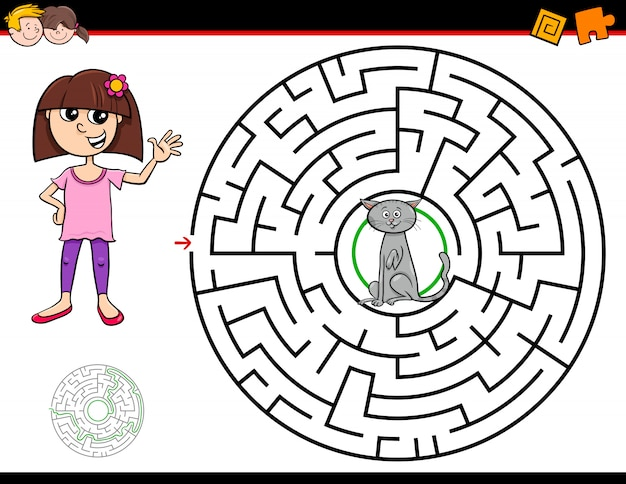 Gioco del labirinto del fumetto con ragazza e gatto