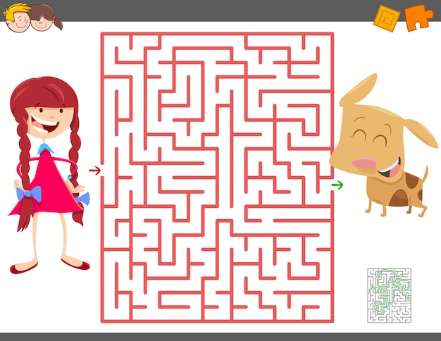 Gioco del labirinto per bambini con ragazza e il suo cucciolo