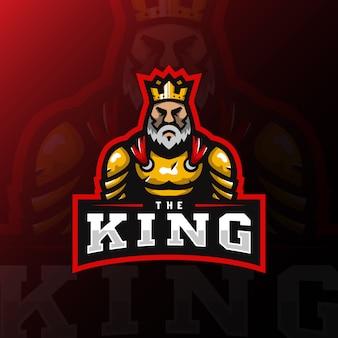 Gioco dell'illustrazione dell'esport di logo della mascotte di re