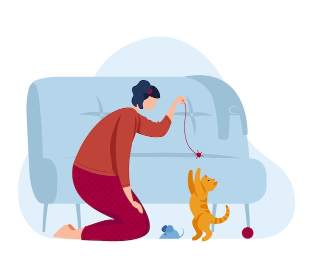 Gioco della ragazza con il gattino, animale domestico del gatto di amore a casa del fumetto, illustrazione. felice simpatico animale domestico e amicizia di carattere giovane. il proprietario femminile si preoccupa per il gattino, la donna piatta si diverte.