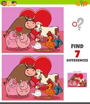 Gioco delle differenze con gli animali della fattoria innamorati