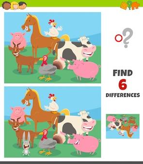 Gioco delle differenze con un gruppo di personaggi di animali da fattoria