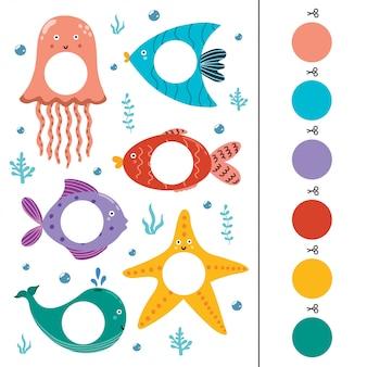 Gioco di abbinamento colori animali marini per bambini. taglia i cerchi e abbina. pagina di attività prescolare per i più piccoli. illustrazione