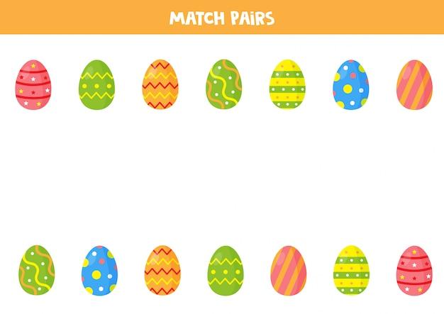 Gioco di abbinamento di uova di pasqua per bambini in età prescolare. trova le coppie. foglio di lavoro educativo per bambini.