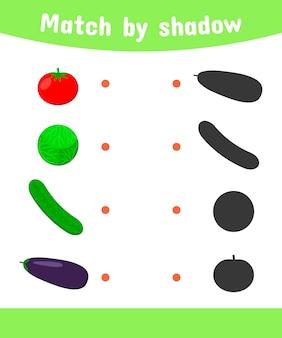 Gioco di abbinamento per bambini. collega l'ombra delle verdure.
