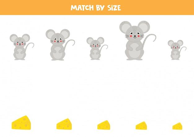 Gioco di abbinamento taglie. simpatico cartone animato topo e formaggio.