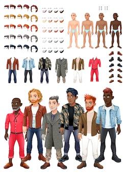 Gioco di abiti e acconciature con avatar maschili