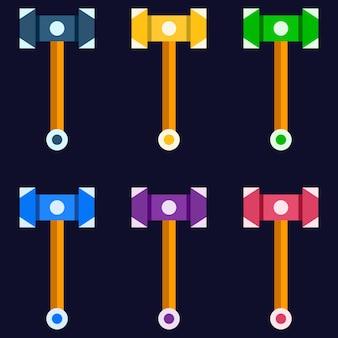 Gioco di armi colorate martello