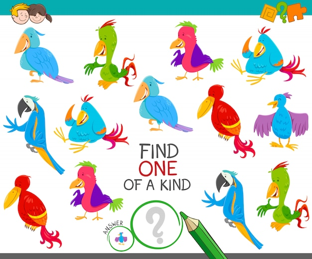Gioco di attività educative con uccelli colorati
