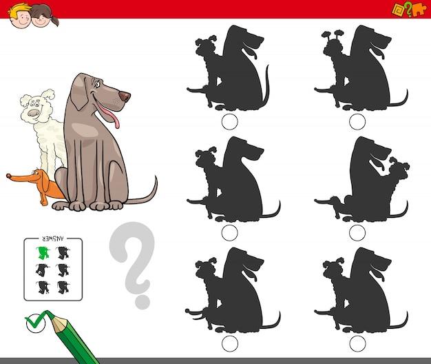Gioco di attività silhouette con gruppo di cani