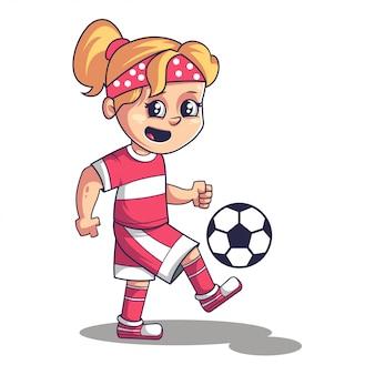 Gioco di calcio di calcio, ragazza carina che gioca a calcio