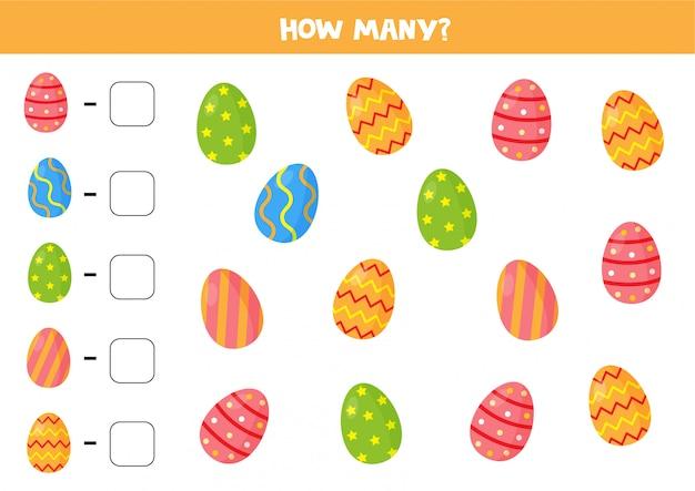 Gioco di conteggio delle uova di pasqua. quanti sono lì. foglio di lavoro per bambini.
