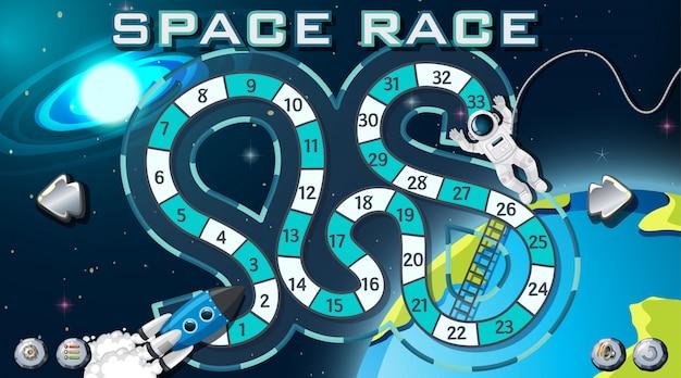 Gioco di corse spaziali sullo sfondo