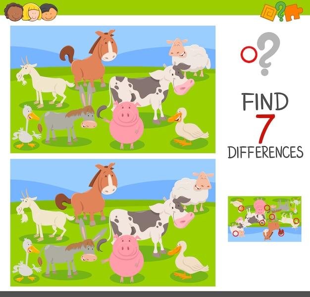 Gioco di differenza con il gruppo di animali della fattoria