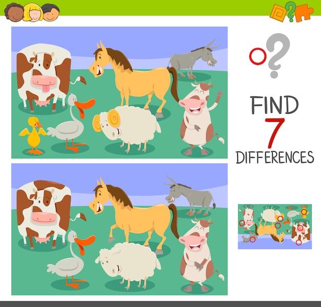 Gioco di differenze con animali da fattoria divertenti