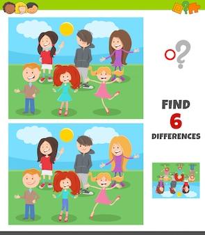 Gioco di differenze con gruppo di personaggi per bambini e ragazzi